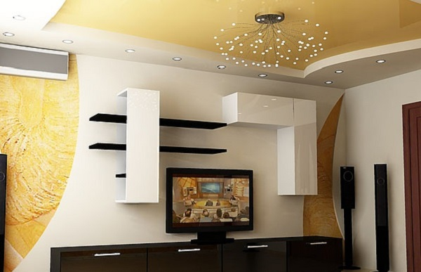 Stretch ceiling design for a bright living room with an unusual lamp
