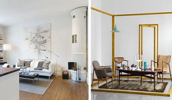 istaba dzīvojamā ēkā saskaņā ar Skandināvijas dizaina iespēju
