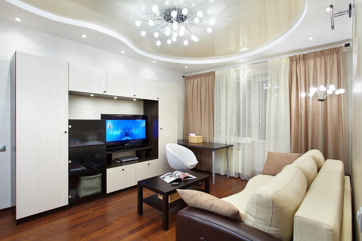 Milky stretch ceiling design for a spacious living room