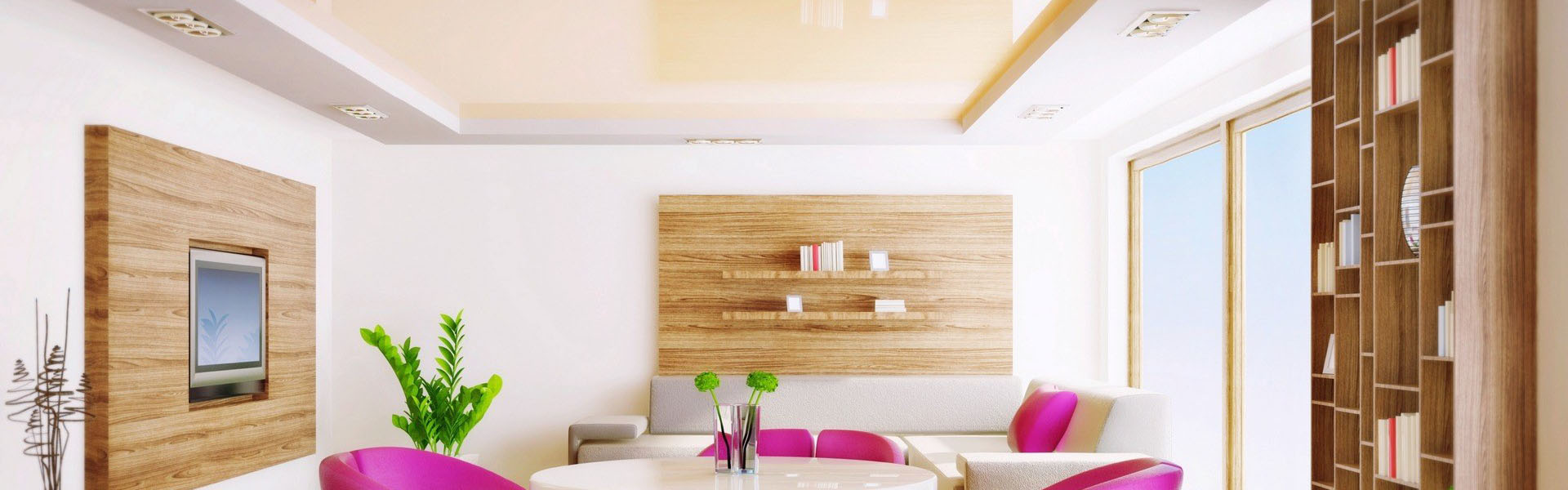 The advantages of a white stretch ceiling for a bright and large living room