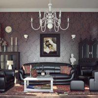 viļņotas tumšas tapetes viesistabas foto stilā