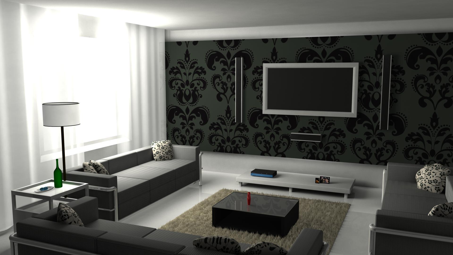 skaistas tumšas tapetes viesistabas interjerā
