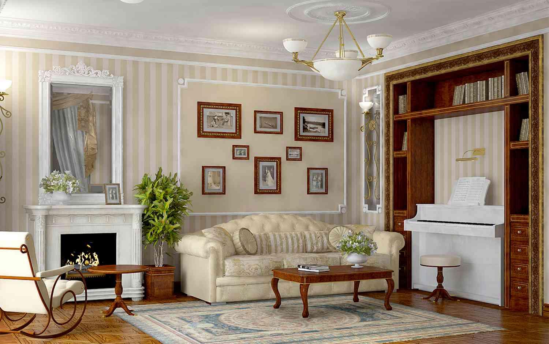 gaišs franču stila viesistabas dizains