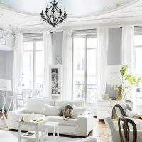 spilgti franču stila viesistabas dizaina foto