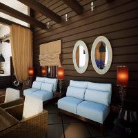 skaists dzīvokļa interjers šokolādes krāsas fotoattēlā