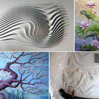 skaists guļamistabas dizains ar fotoattēlu ar reljefu