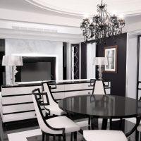 prašmatnus kambario interjeras art deco stiliaus nuotraukoje