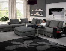 canapé d'angle lumineux dans le style de l'appartement photo