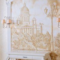 skaists guļamistabas dekors ar bareljefa fotoattēlu