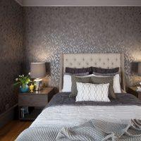 viļņotas tumšas tapetes guļamistabas foto stilā