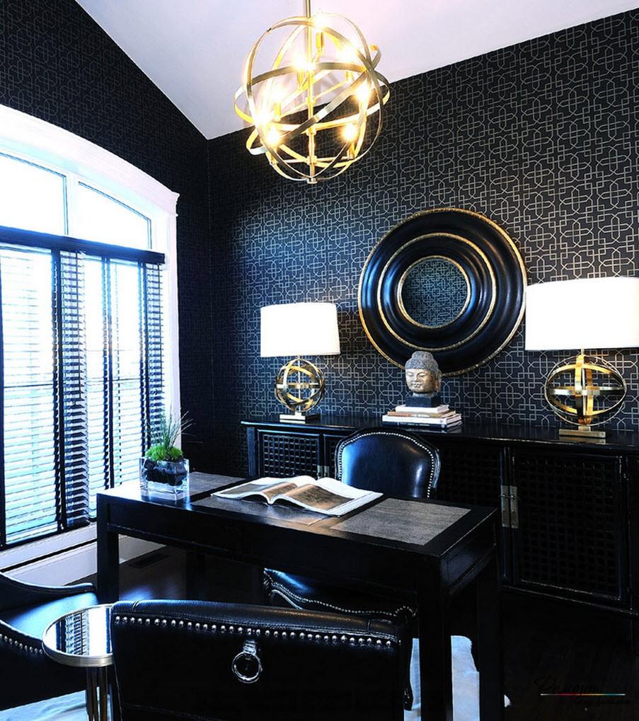 skaistas tumšas tapetes viesistabas dizainā