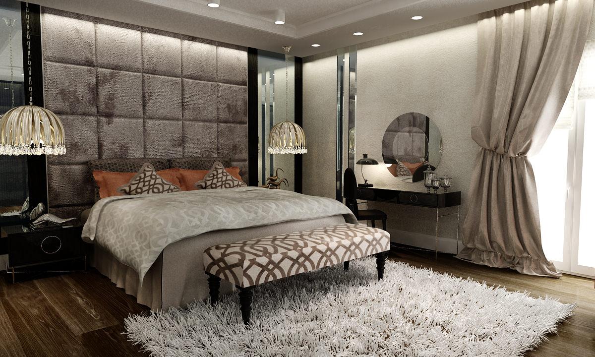 gražus kambario interjeras art deco stiliumi