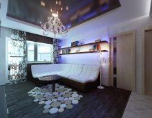 stilingas aukštųjų technologijų gyvenamojo kambario dekoro paveikslėlis
