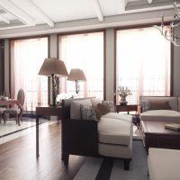 gaiša art deco stila dzīvokļa attēls