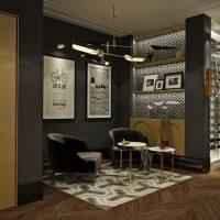 gaismas dekoratīvās viesistabas interjera attēls