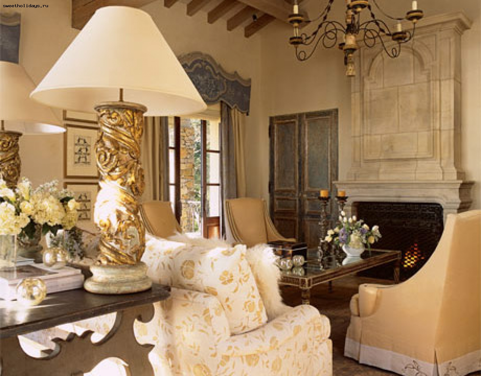 skaists franču stila viesistabas dizains