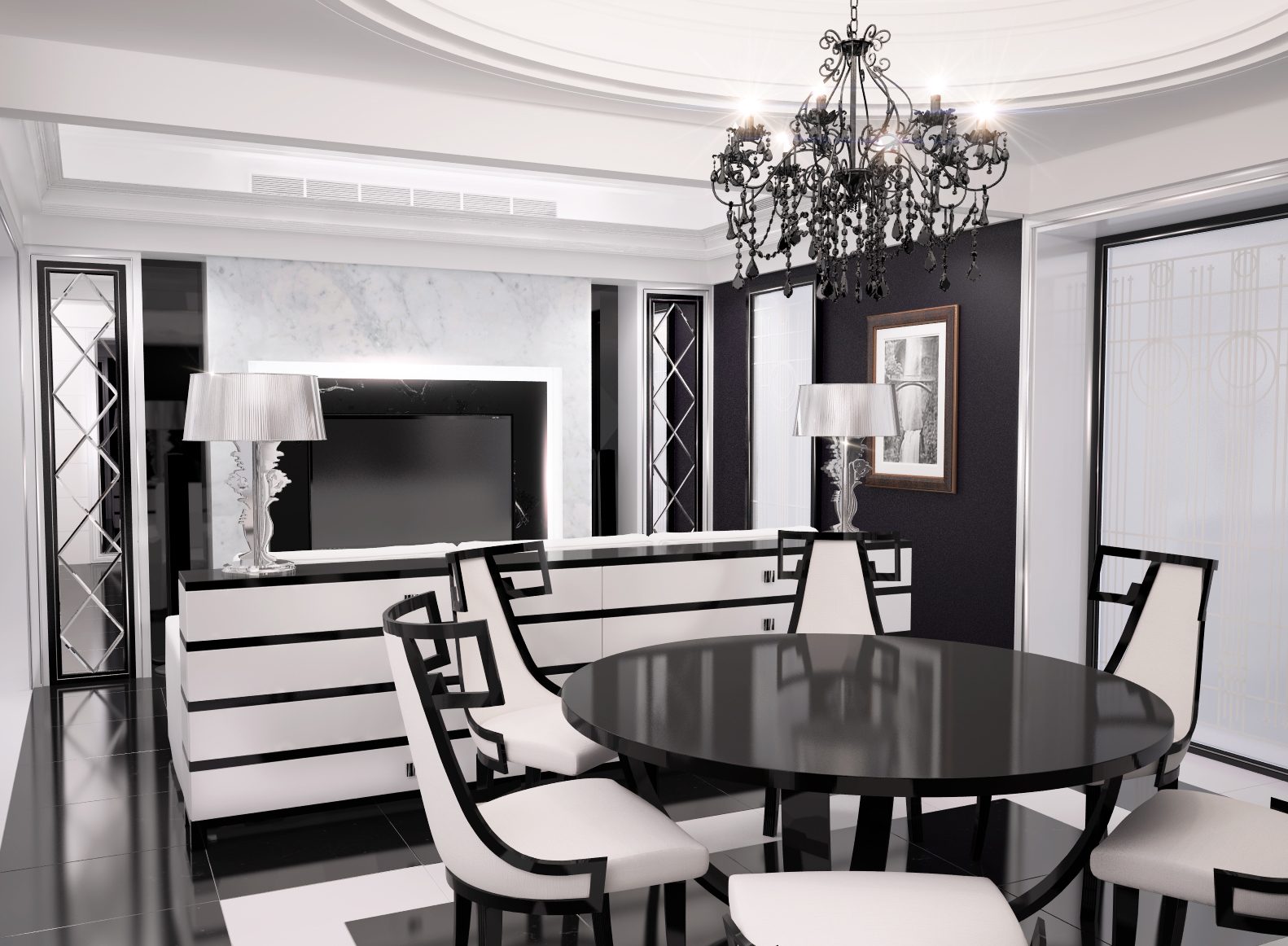 gražus dizaino kambarys art deco stiliumi
