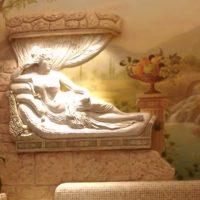 gaiša stila guļamistaba ar bareljefa attēlu