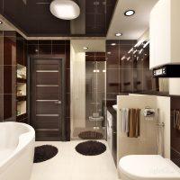 gaišs virtuves interjers šokolādes krāsas fotoattēlā