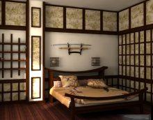 gaišs japāņu stila viesistabas dizaina foto