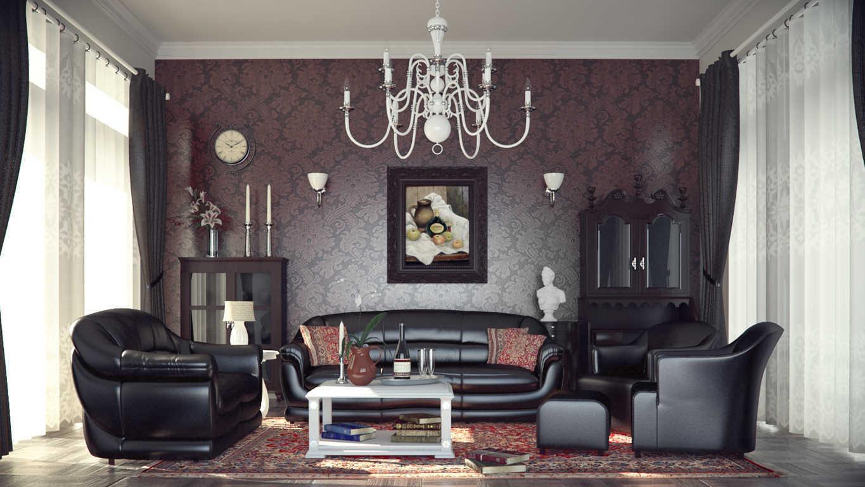 skaistas, tumšas tapetes istabas interjerā
