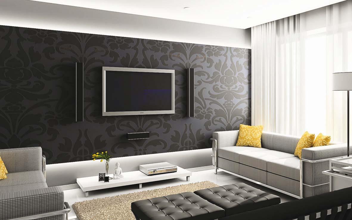 svītrainas tumšas tapetes istabas dizainā