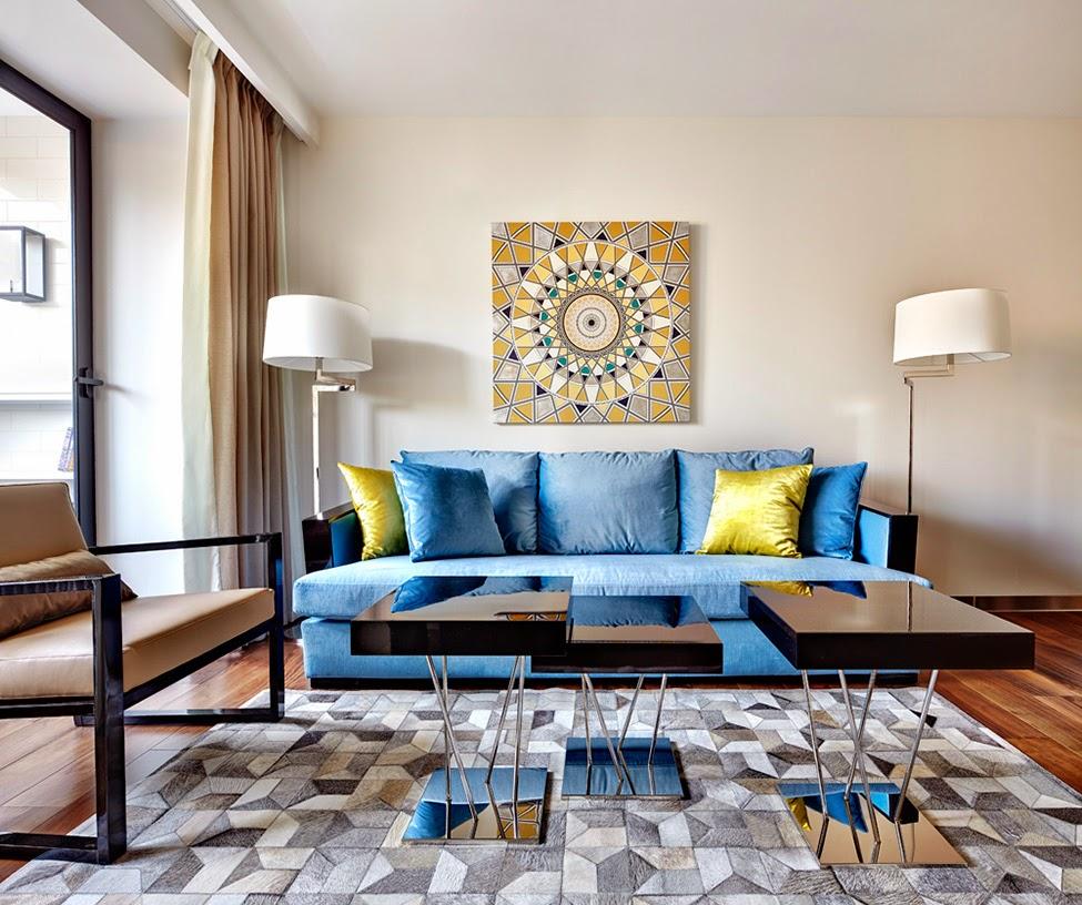 spilgts art deco dzīvojamās istabas dizains