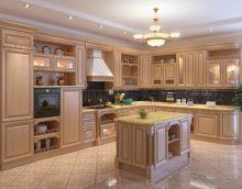 bel intérieur de cuisine beige en photo de style campagnard
