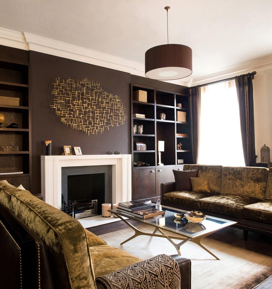 skaists viesistabas dekors šokolādes krāsā