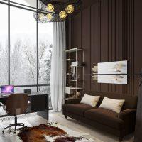 skaists guļamistabas interjers šokolādes krāsas attēlā