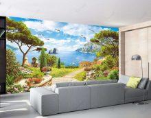 sienas gleznojumi virtuves interjerā ar ainavas attēla fotoattēlu