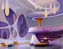 futūrisms dzīvokļa interjerā gaišā krāsā