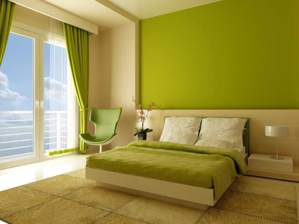 spilgta pistāciju krāsa guļamistabas stilā