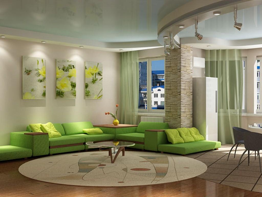 gaiša pistāciju krāsa virtuves interjerā