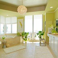 skaista pistāciju krāsa guļamistabas interjera attēlā