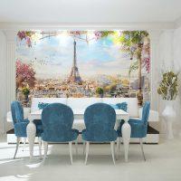 skaista stila viesistaba ar zilu krāsu foto
