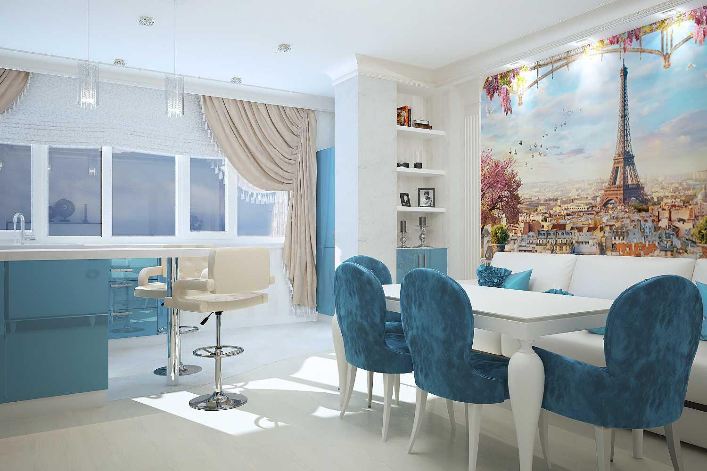 gaišs istabas dizains zilā krāsā