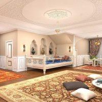 skaista dizaina guļamistaba austrumu stila attēlā