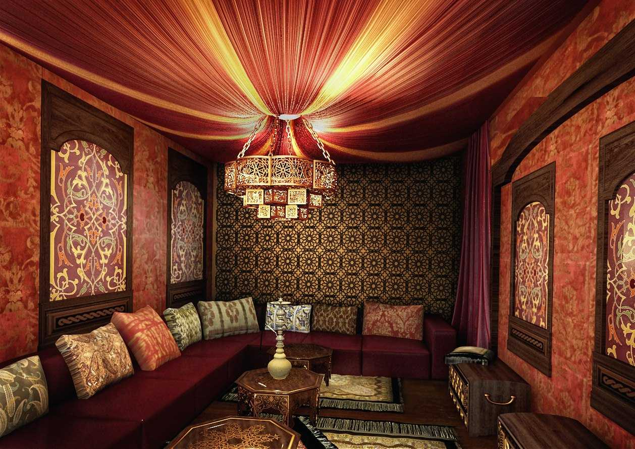 skaista stila viesistaba austrumu stilā