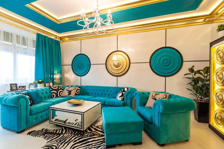 skaists istabas dizains zilā krāsā