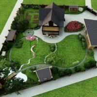 belle création du dessin du jardin avec des fleurs photo