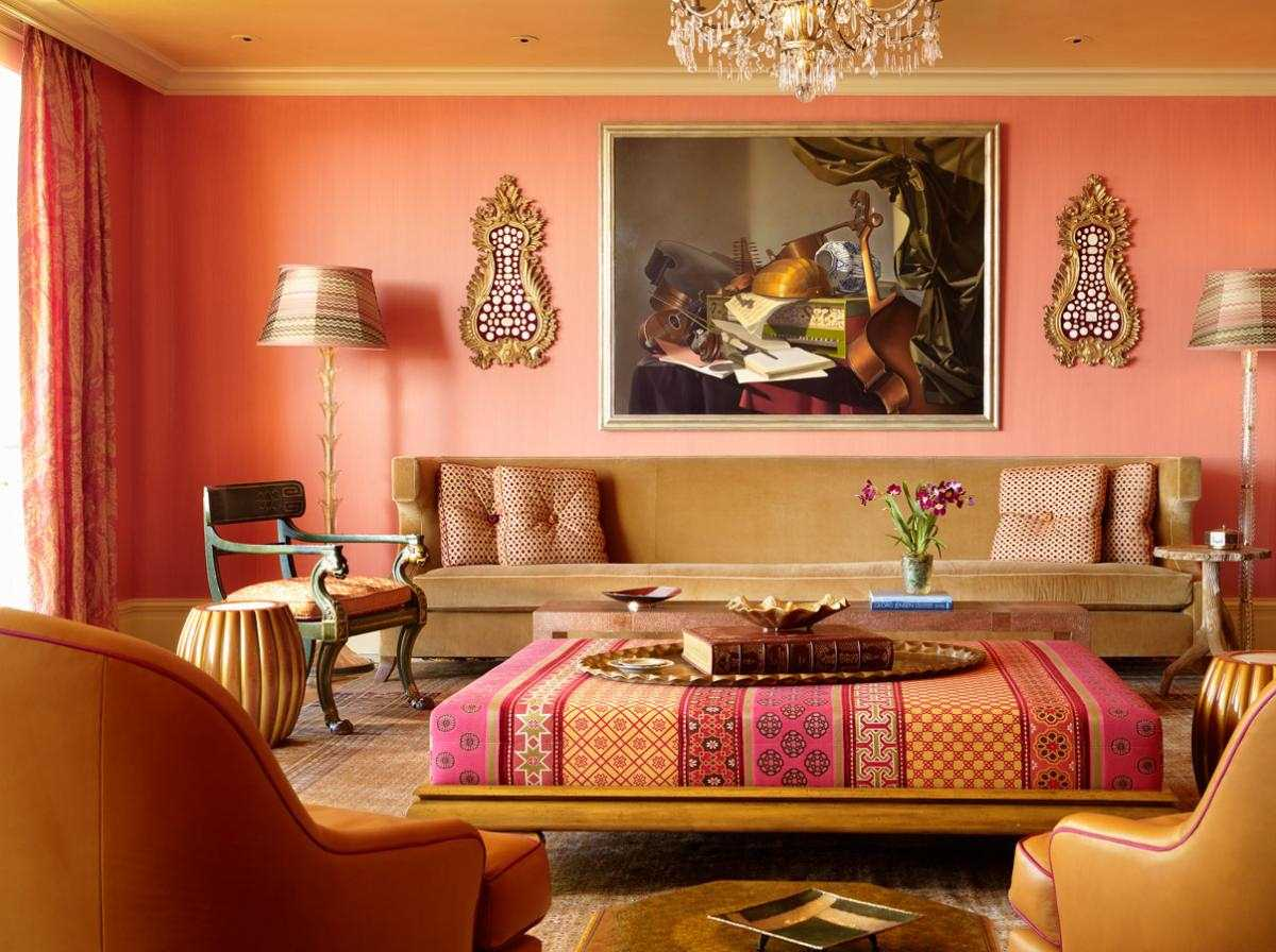 skaists viesistabas dizains austrumu stilā