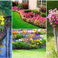 belle création de la conception d'un chalet d'été avec des fleurs photo