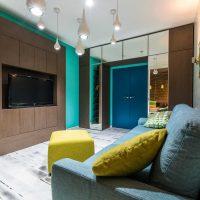 oriģināls dzīvokļa dizains zilā fotoattēlā