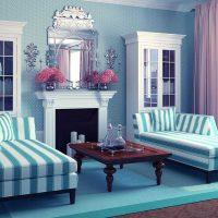 gaišs guļamistabas dizains zilā attēlā
