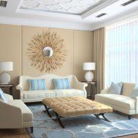 oriģināls viesistabas interjers zilā krāsā