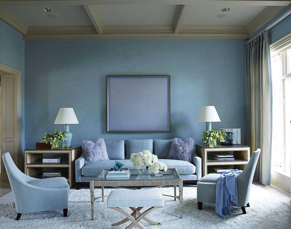 oriģināls dzīvokļa stils zilā krāsā