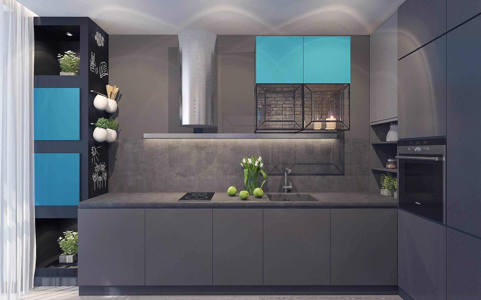 kombinacija tamno sive boje u unutrašnjosti dnevne sobe
