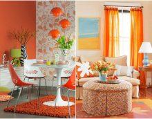 tumši oranžas krāsas kombinācija viesistabas stilā ar citām krāsām