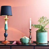 gaiši rozā krāsas kombinācija viesistabas stilā ar citu krāsu attēlu